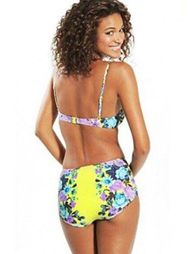 skt-swimwear Damen Flower Flock Hohe Taille Bikini