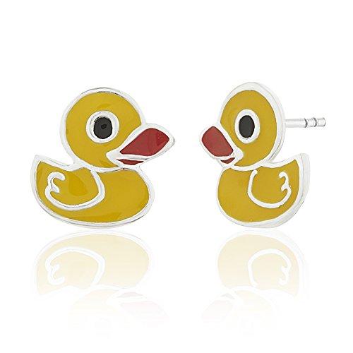 Children's 925 Sterling Silver Yellow Rubber Duck Stud Earrings Silver Duck