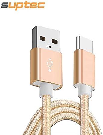 ETC KART SUPTEC USB Tipo C Tipo-C 3,1 Cable de sincronización de Datos de Carga rápida Trenzado USB Cable para Samsung S8 Xiaomi Mi5 Mi4C Huawei P10 USB-C (1,5 m, Rose Gold)