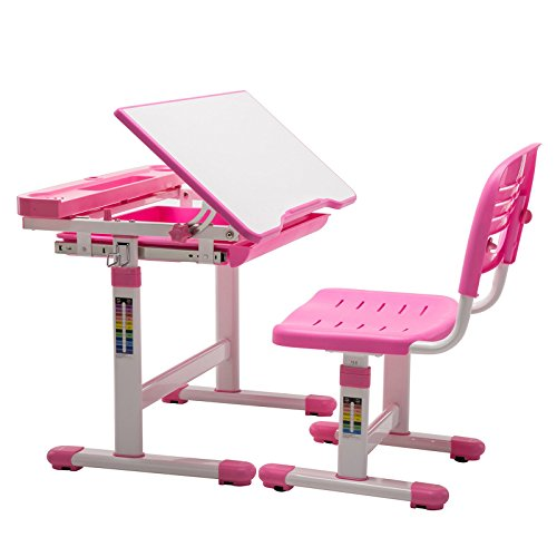 Children Desk and Chair Set, Height Adjustable Kids Sturdy Table, Student School Writing Desks for Girls Pink ()