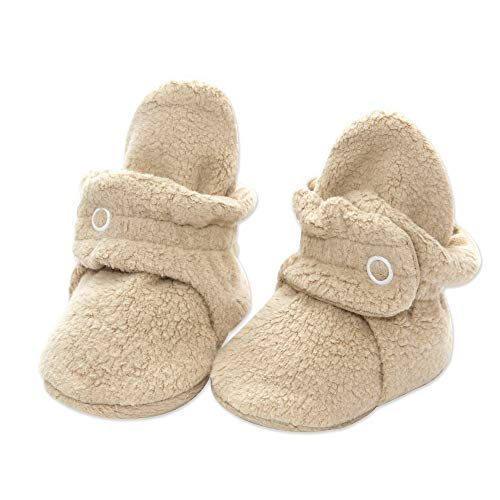 (Zutano Fleece Baby Booties|Soft Sole Stay On Baby Shoes, Khaki, 6 Months)