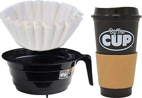 Bunn-O-Matic 20583.0003 Black Plastic Funnel with 50 Fluted Paper Coffee Filters and By The Cup Travel Mug ()