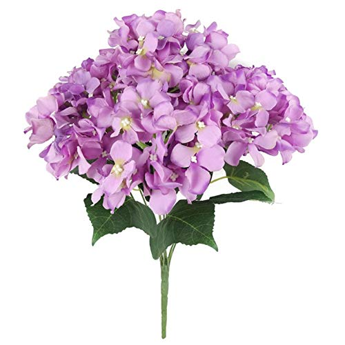 Mop Head Hydrangea - HEEGNPD 22 Inch Hydrangea Bush Mop Heads Multiple Colors Available Artificial Silk for Home,Purple