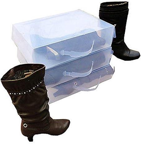 Zapatos Box Set 5 x Cajas apilable transparente para botas Botas Caja de zapatos caja de zapatos cartón caja de zapatos almacenamiento cajas, plástico, transparente, L52xH 11.5xB 30cm: Amazon.es: Hogar