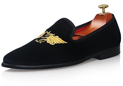 ELANROMAN Mens Velvet Loafers Shoe With Gold Plate Slippers Loafers & Slip-Ons Smoking Slipper Loafer Shoes For Men Gn2b74E4Q