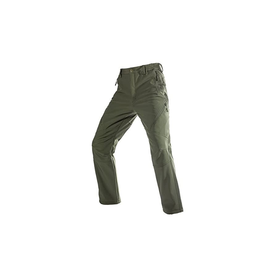 FREE SOLDIER Men's Fleece Lined Water Repellent Softshell Snow Ski Pants with Zipper Pockets