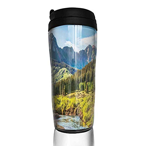 coffee cups set of Landscape,Mountain Vista Thick Forest Trees Mountain Flowing River Grass Cloudy Sky Valley,Multicolor 12 oz,coffee cup shelf for cabinet