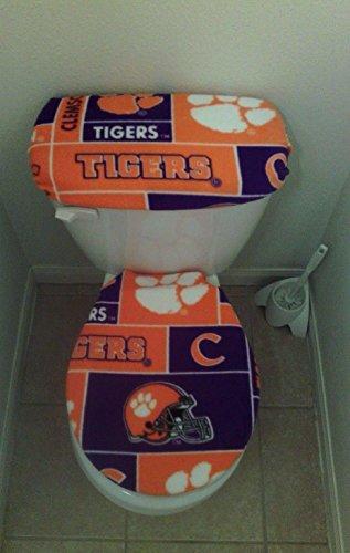 NCAA Clemson Tigers Print Fleece Toilet Seat Cover Set