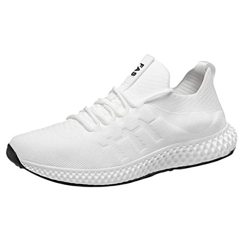 (Men's Knit Running Shoes Lightweight Non-Slip Mesh Shoes Breathable Athletic Casual Tennis Waking Gym Shoes by Lowprofile White)