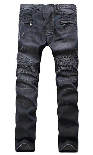[Men's Fashion Casual Motocross Wrinkle Slim Fit Skinny Distressed Biker Jeans Pants, Black US 28=Tag 29] (Motocross Casual Wear)
