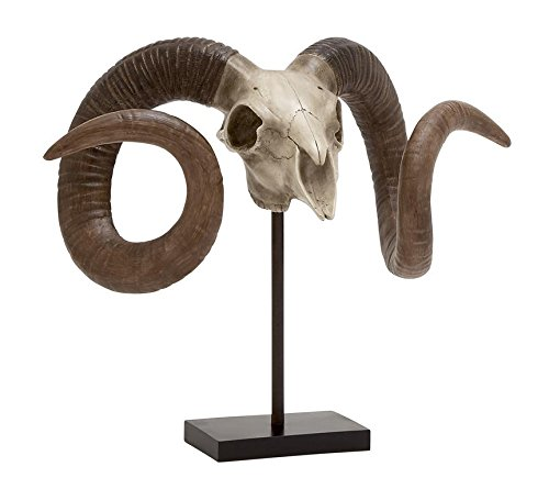 Deco 79 Polystone Sheep Skull on Stand, 22 by 17-Inch