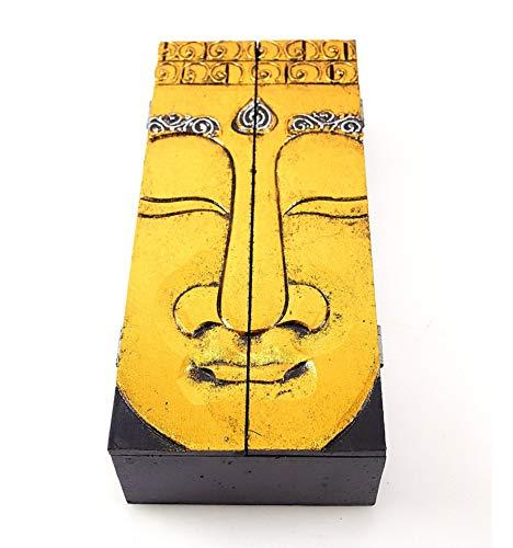 Fabrication Artisanal Bo/îte /à th/é Coffret /à Bijoux en Bois Motif Bouddha