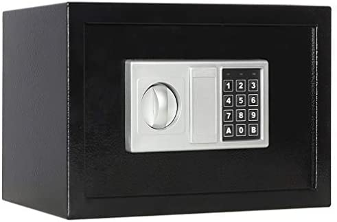 Lovndi Security Safe Box with Keypad, 0.5 Cubic Feet Digital Steel Lock Box for Home Office, 13.8 x 9.8 x 9.8 inches, Black