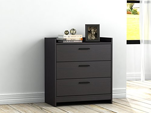 Homestar EB208751B9 Central Park 3 Drawer Chest, 15.98 X 27.48 X 30, Black Brown