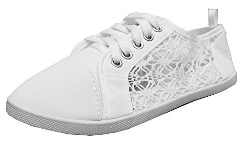 Women's Canvas All White Lace Sneakers (White) - 3