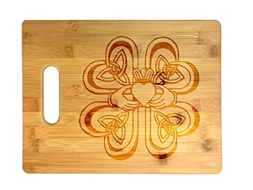 Irish Claddagh Ring w/Celtic Weave & Lucky Four Leaf Clover - Laser Engraved Bamboo Cutting Board - Wedding, Housewarming, Anniversary, Birthday, Father's Day, Gift ()