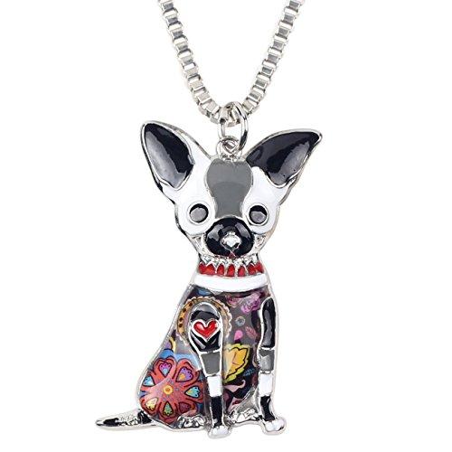 BONSNY Love Pets Enamel Zinc Alloy Metal Chihuahua Necklace Dog Animal Pendant 18