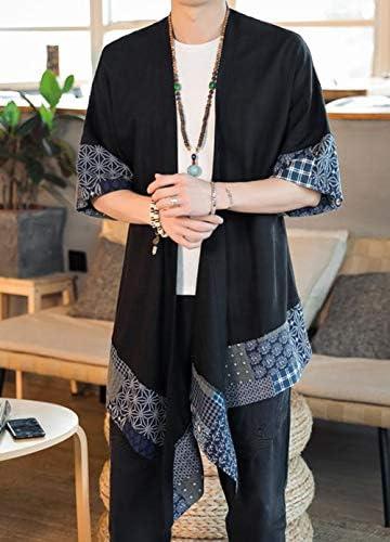 [YUNHEN]メンズ カーディガン 半袖 綿 麻 和式パーカー 切り替え 羽織り 7分袖 リネン 大きいサイズ 不規則 ファッション コート 不規則 ロング トップス カジュアル おしゃれ ロングカーデ