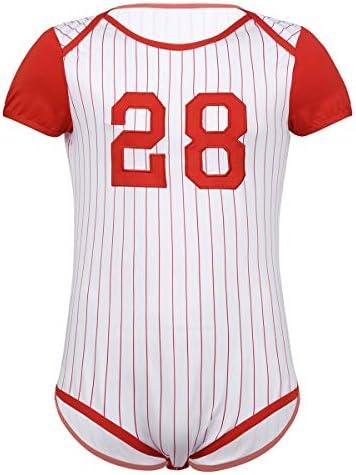 メンズ皮ひも、ブリーフ メンズパジャマ赤ちゃんのおむつの恋人コスチュームワンピースショートスリーブは、クロッチ野球テーマボディスーツロンパースを押しました 男性のための (Color : Red, Size : XXL)