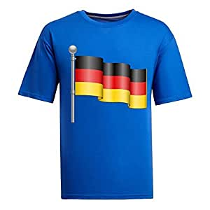 Custom Mens Cotton Short Sleeve Round Neck T-shirt, Printed with World Cup Images blue