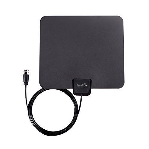 DuaFire Digital Ultra-Thin Indoor HDTV Antenna, 25 Miles Range with 10ft High Performance Coax Cable, Free Get the Ultra high Definition TV Signals