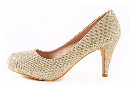 Picture of Cull4U Women's Glint Rhinestones Pumps (8 B(M) US,Gold Glitter)