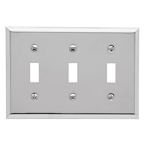 "Baldwin Estate 4770.260.CD Square Beveled Edge Triple Toggle Switch Wall Plate in Polished Chrome, 4.5""x6.5"""