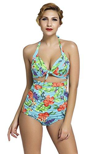 Nuevas señoras verde floral cintura alta bikini Swimwear Beachwear verano desgaste tamaño M UK 10–�?2EU 38–�?0
