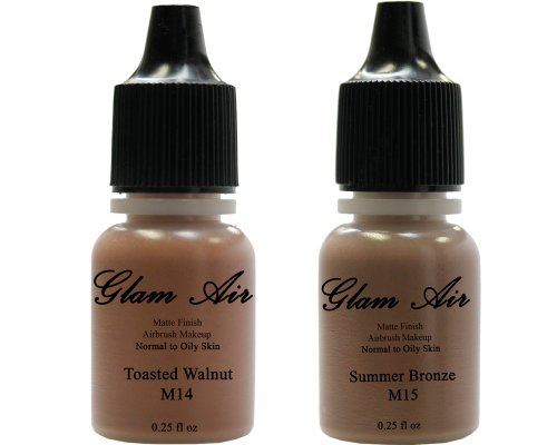 Airbrush Makeup Foundation Matte M14 Toasted Walnut and M15 Summer Bronze Water-based Makeup Long Lasting All Day Without Smearing Running, Fading or Caking 0.25 Oz Bottle By Glam Air