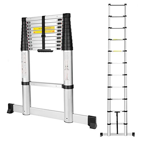 - Telescoping Ladder with Stabiliser Bar,Slow Down Design 10.5FT Telescopic Extension Step Ladder,EN131 Certified Multi-Purpose Collapsible Ladder for Household Daily or Hobbies,330 Lb Capacity