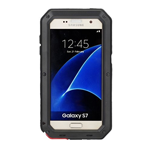 Galaxy S7 Case, Amever Aluminum Metal Case with Silicone - Water Resistant Shockproof Metal Bumper Heavy Duty Tempered Glass Dual Layer Protective Skin Cover Case for Samsung Galaxy S7 - Black