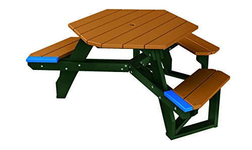 (ADA - 1 Chair) 4' Recycled Plastic Hex Table - Seats 5 People - Evergreen Frame - Cedar
