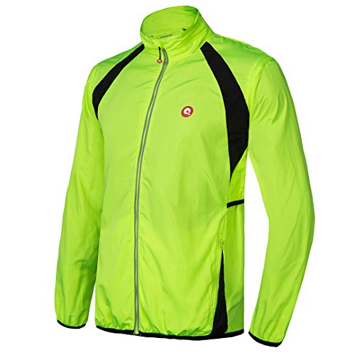 qualidyne Men's Cycling Running Jacket Windproof Vest Bike Jacket Water-Resistant Coat with Detachable Sleeves Green