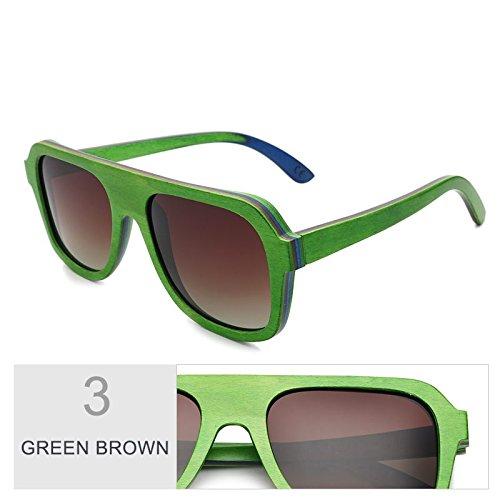 Hombre De Color De Brown Gafas Gafas De De Sol Café Green Gafas De Madera En Sol De TIANLIANG04 Gris Madera Multicapa Antirreflejante Polaroid Bastidor Real Sol Unisex 100 Gafas vOxwfq7U