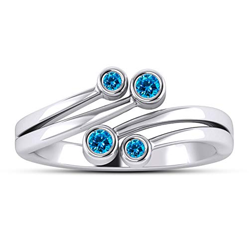 Gemstar Jewellery Blue Topaz Girls Bypass Adjustable Toe Ring in Pure 925 Silver 14k White Gold Over