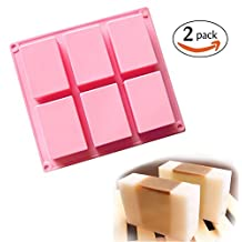(Pack of 2) 6 Cavities Plain Basic Rectangle Silicone Mold for Homemade Craft Soap Mold, Cake Mold, Biscuit Chocolate Mold, Ice Cube Tray
