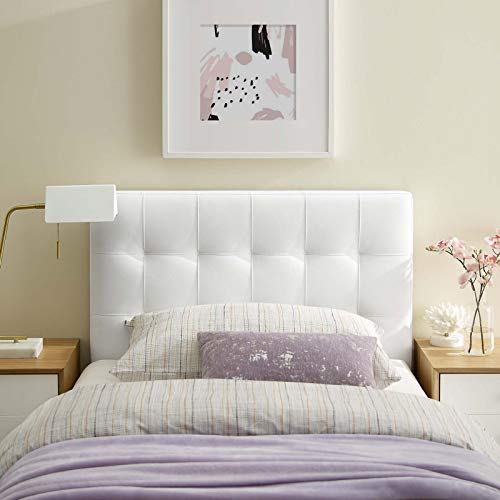 Modway Lily Tufted Faux Leather Upholstered Twin Headboard in White (Bed White Twin Headboard)