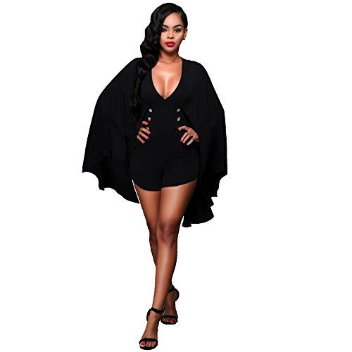 Women Sexy Shawl Cloak One Piece Jumpsuit Shorts Rompers Clubwear Black L (Sexy Pants Suits)