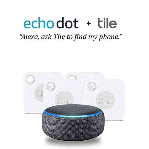 Echo Dot (3rd Gen) - Charcoal Fabric Bundle with Tile Mate with Replaceable Battery - 4 pack - NEW