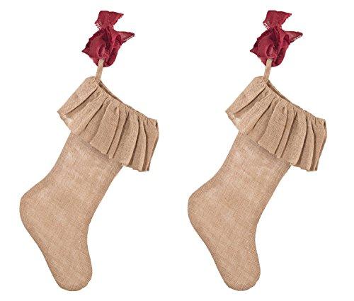 Ruffle Burlap Festive Holiday Christmas Stocking, Natural x 2 pieces]()