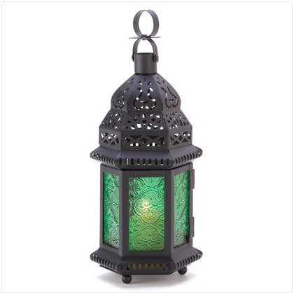 Gifts & Decor Green Glass Moroccan Candle Holder Hanging Lantern (Green Glass Lantern)