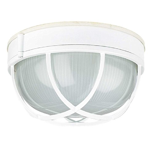 Sunset Lighting F7987-30 Outdoor Flush Mount with Frosted Prismatic Glass, White Finish 30 White Prismatic Glass