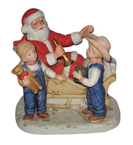Denim Days Figurine - Homco 1985 Denim Days Santa's Visit 6x5 Inch Porcelain Christmas Figurine 8924