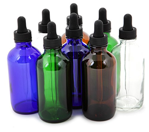 Vivaplex, 8, Assorted Colors, 4 oz Glass Bottles, with Glass Eye Droppers ()