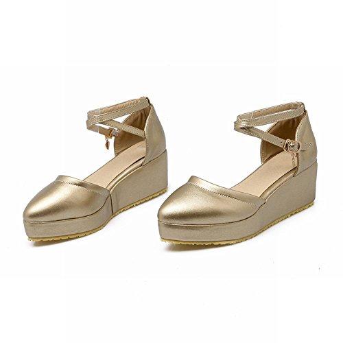 Carolbar Mujeres Pointed Toe Hebilla Sweet Cosplay Plataforma Sandalias De Vestir De Oro