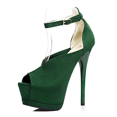 partito pesci scarpe scarpe Nuova tacco sposa scamosciato ZCH cingolata ultra alto green bocca Donne col da scarpa con fine alti Scarpe tacchi f4YTx7