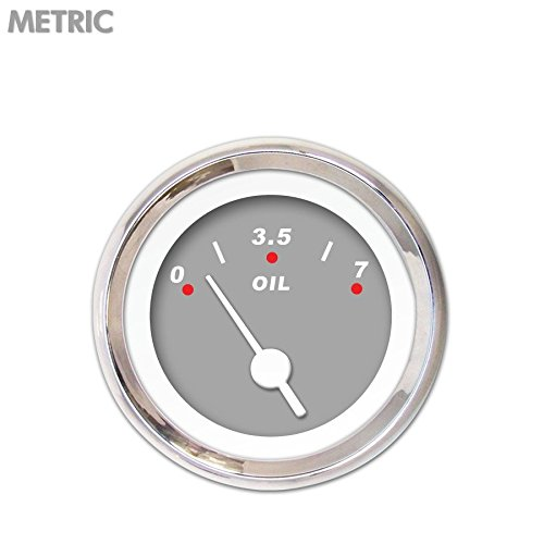 White Vintage Needles, Chrome Trim Rings, Style Kit DIY Install Aurora Instruments 6562 Modern Rodder Gray Metric Oil Pressure Gauge