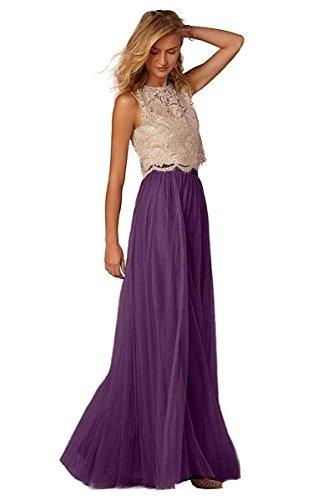5930eb74c6 Purple Women's Two Pieces Lace Prom Dresses Tulle Bridesmaid Dress A-Line  Evening Gowns US20 Plus Size