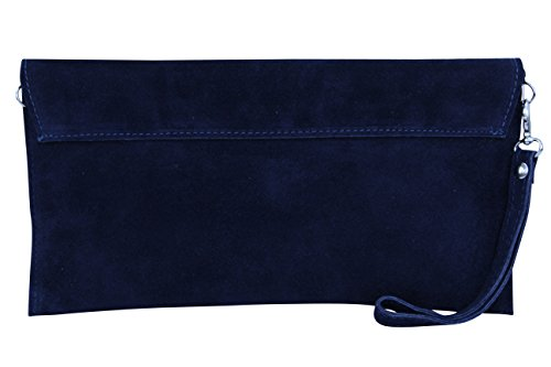 suede WL811 suede Moda Blue Navy genuine Clutch bag Handbag Women's AMBRA leather qwa4x1tt