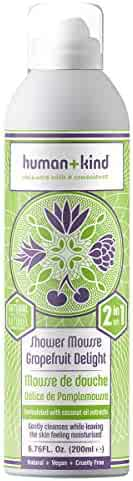 Human+Kind Shower Mousse | Lather and Cleanse Skin with Puffs of Fluffy Foam | Nourishes Dry Skin with Coconut Oil | Natural, Vegan Skin Care | Grapefruit Delight - 6.76 fl oz
